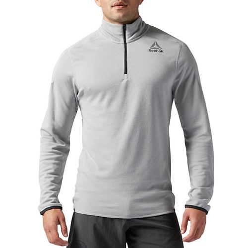 Mens Reebok Workout Ready Wool 1/4 zip Long Sleeve Technical Tops - Grey XL-R
