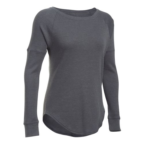 Womens Under Armour Waffle Raglan Long Sleeve Technical Tops - Carbon Heather XSR