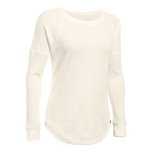 Womens Under Armour Waffle Raglan Long Sleeve Technical Tops - Ivory SR