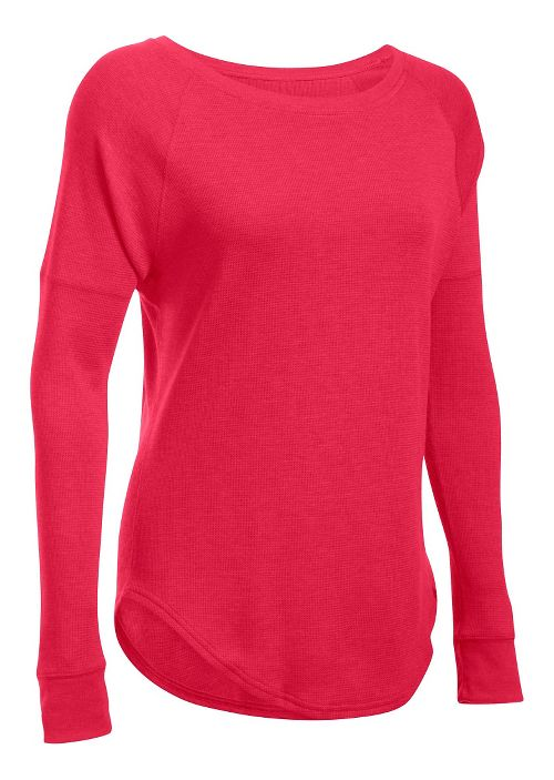 Womens Under Armour Waffle Raglan Long Sleeve Technical Tops - Knock Out MR