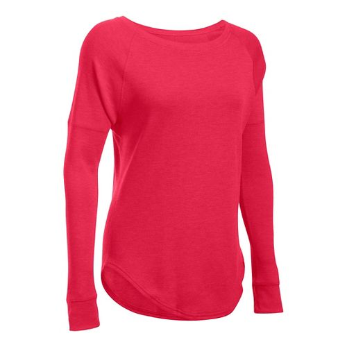 Womens Under Armour Waffle Raglan Long Sleeve Technical Tops - Knock Out SR