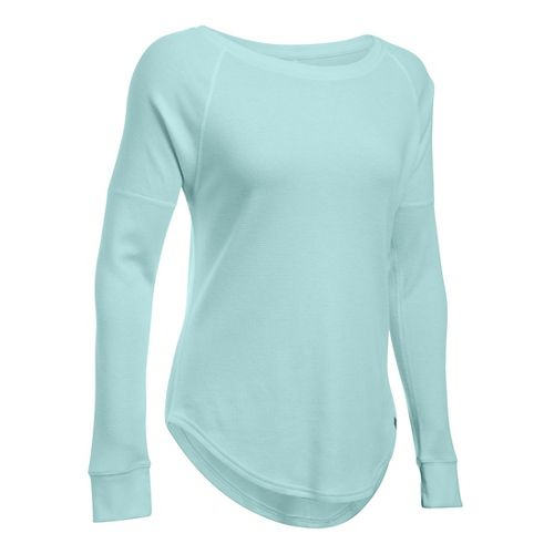 Womens Under Armour Waffle Raglan Long Sleeve Technical Tops - Carbon Heather SR
