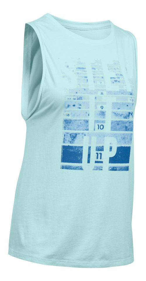 Womens Under Armour Step Up Muscle Sleeveless & Tank Technical Tops - Aqua Falls S