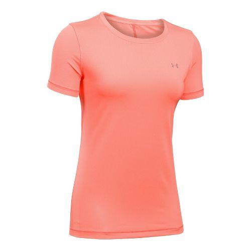 Womens Under Armour HeatGear Short Sleeve Technical Tops - London Orange L