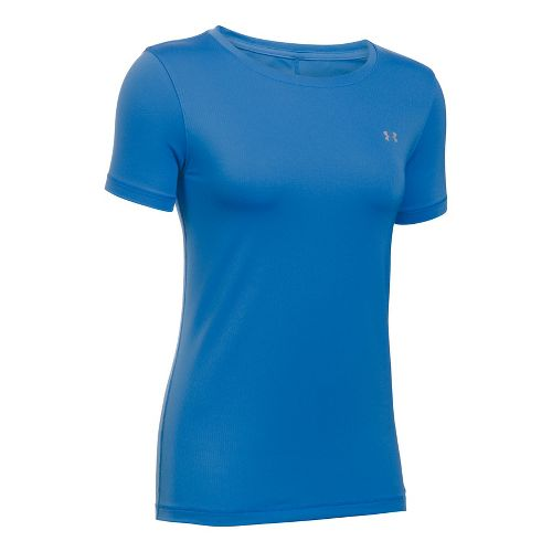 Womens Under Armour HeatGear Short Sleeve Technical Tops - Mediterranean L