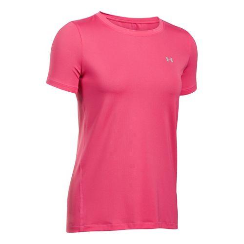 Womens Under Armour HeatGear Short Sleeve Technical Tops - Pink Sky L
