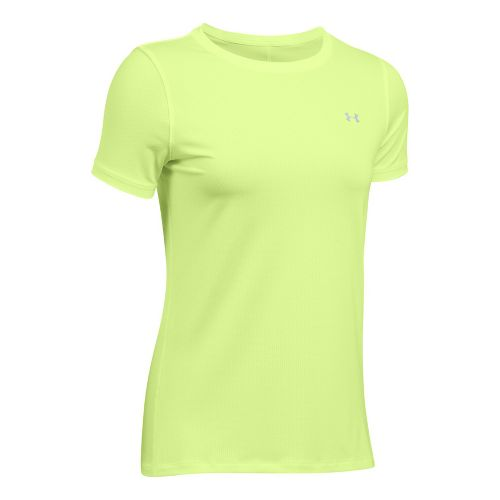 Womens Under Armour HeatGear Short Sleeve Technical Tops - Pale Moonlight L