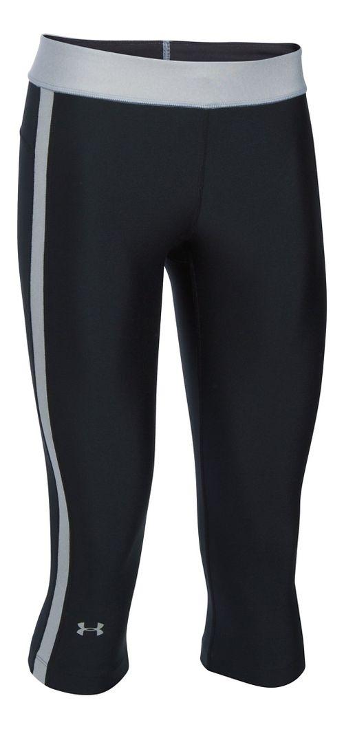 Womens Under Armour HeatGear Sport Capris Pants - Black/Grey Heather XSR