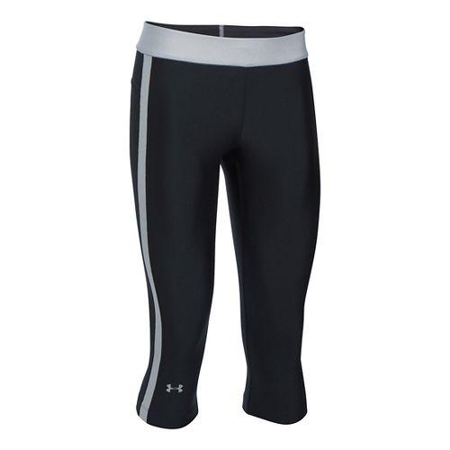 Womens Under Armour HeatGear Sport Capris Pants - Black/Water LR