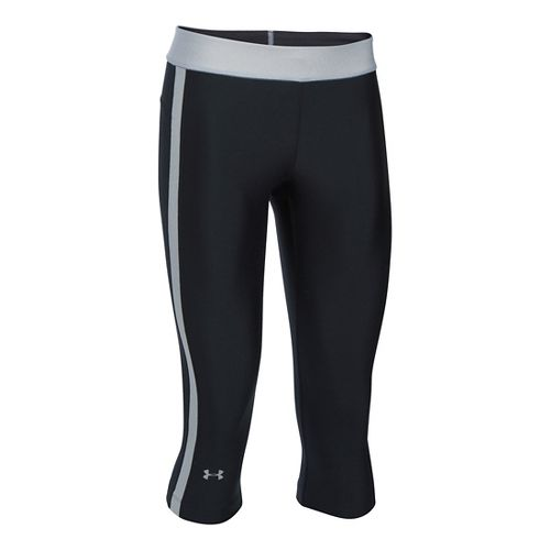 Womens Under Armour HeatGear Sport Capris Pants - Black/Grey Heather XSR