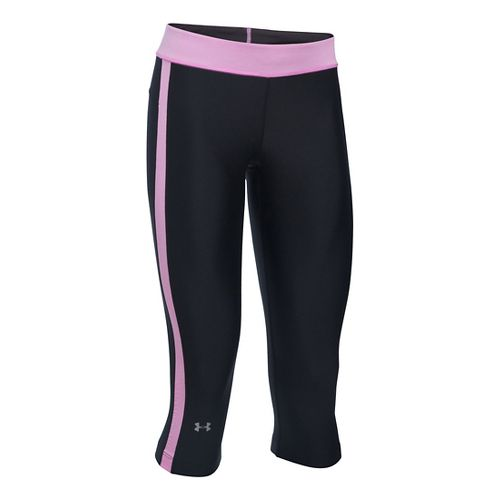 Womens Under Armour HeatGear Sport Capris Pants - Black/Verve Violet MR