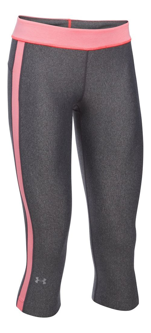 Womens Under Armour HeatGear Sport Capris Pants - Carbon/Brilliance SR