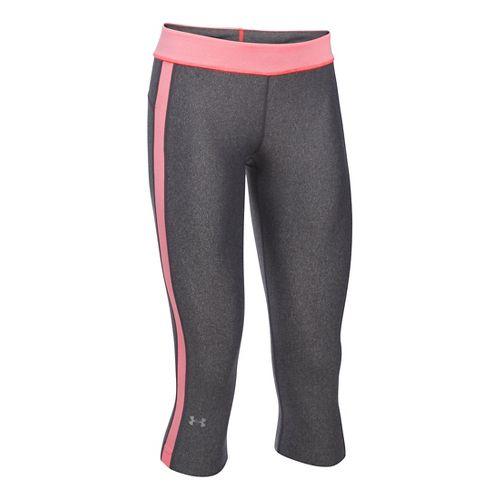 Womens Under Armour HeatGear Sport Capris Pants - Carbon/Brilliance XSR