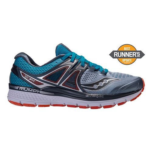 Mens Saucony Triumph ISO 3 Running Shoe - Grey/Blue 12.5