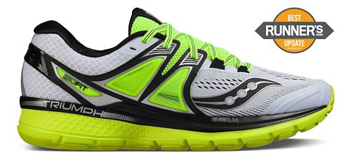 Mens Saucony Triumph ISO 3 Running Shoe - White/Black/Citron 11.5