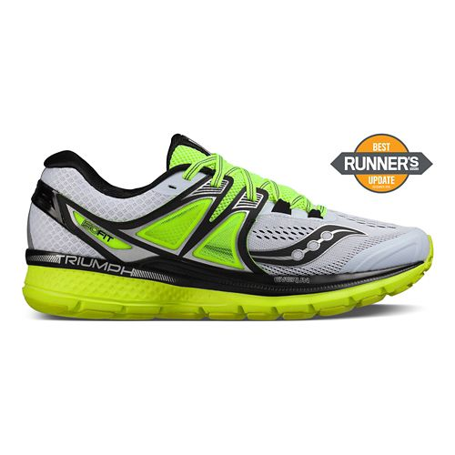 Mens Saucony Triumph ISO 3 Running Shoe - White/Black/Citron 10.5