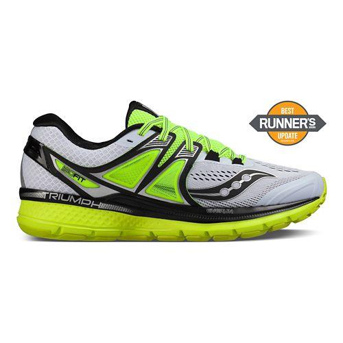 Mens Saucony Triumph ISO 3 Running Shoe - White/Black/Citron 10.5
