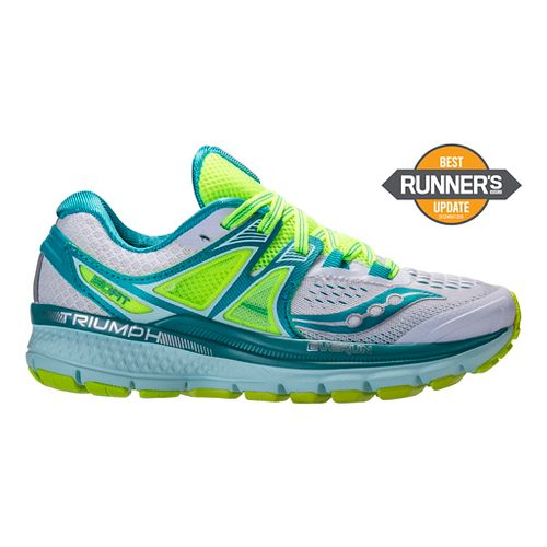 Womens Saucony Triumph ISO 3 Running Shoe - White/Teal 10.5