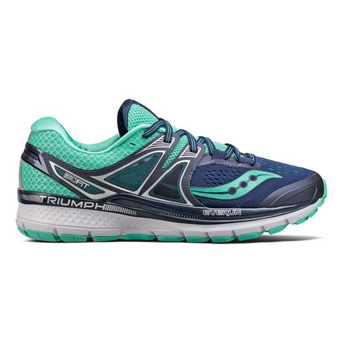 Womens Saucony Triumph ISO 3 Running Shoe - Navy/Turquoise 6.5