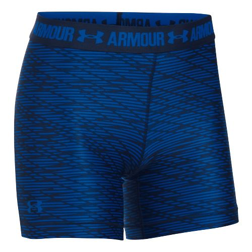 Womens Under Armour HeatGear Middy (Printed) Compression & Fitted Shorts - Royal/Navy L