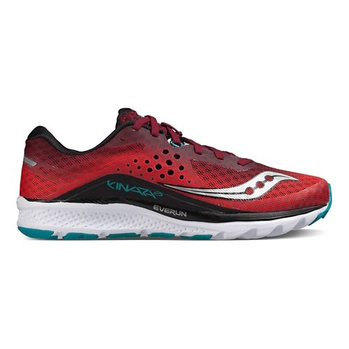 Mens Saucony Kinvara 8 Running Shoe - Red/Black/Teal 14