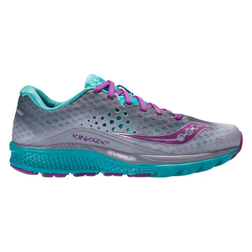 Womens Saucony Kinvara 8 Running Shoe - Grey/Teal 5