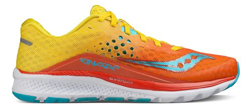 Womens Saucony Kinvara 8 Running Shoe - Orange/Yellow/Blue 9