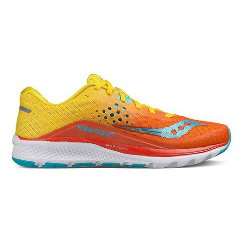 Womens Saucony Kinvara 8 Running Shoe - Orange/Yellow/Blue 9
