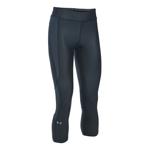 Womens Under Armour HeatGear Crop (Printed) Capris Pants - Black/Stealth Grey MR