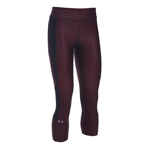 Womens Under Armour HeatGear Crop (Printed) Capris Pants - Maroon/Black XLR