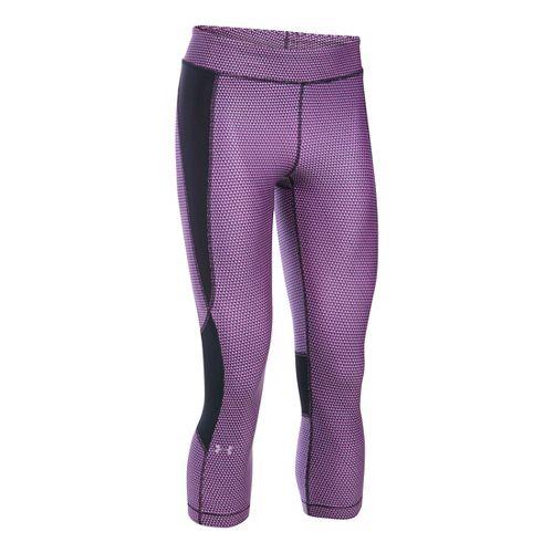 Womens Under Armour HeatGear Crop (Printed) Capris Pants - Verve Violet/Black SR