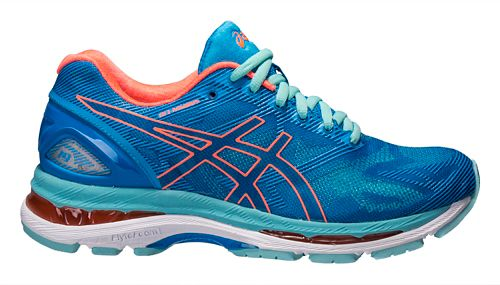 Womens ASICS GEL-Nimbus 19 Running Shoe - Blue/Coral 10.5