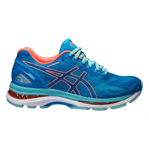 Womens ASICS GEL-Nimbus 19 Running Shoe - Blue/Coral 10