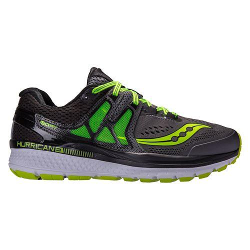 Mens Saucony Hurricane ISO 3 Running Shoe - Grey/Citron 8.5