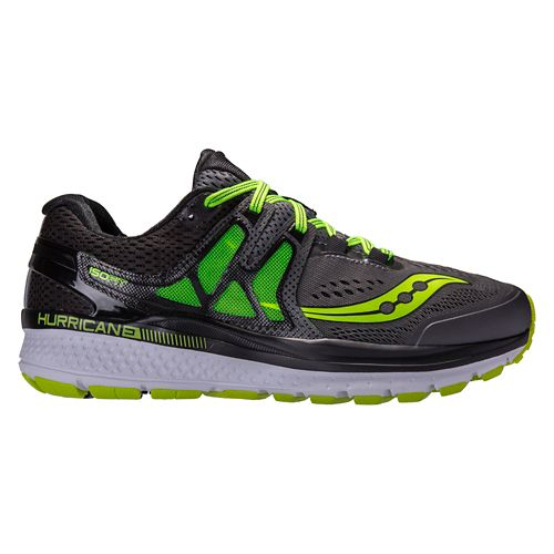 Mens Saucony Hurricane ISO 3 Running Shoe - Grey/Citron 9