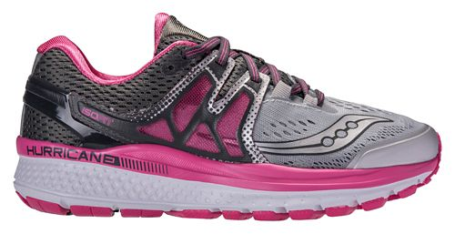 Womens Saucony Hurricane ISO 3 Running Shoe - Grey/Pink 11.5
