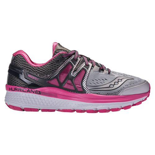 Womens Saucony Hurricane ISO 3 Running Shoe - Grey/Pink 9.5