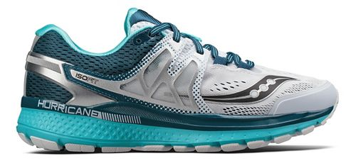 Womens Saucony Hurricane ISO 3 Running Shoe - White/Teal 5