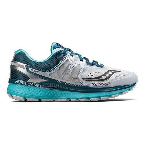 Womens Saucony Hurricane ISO 3 Running Shoe - White/Teal 6.5