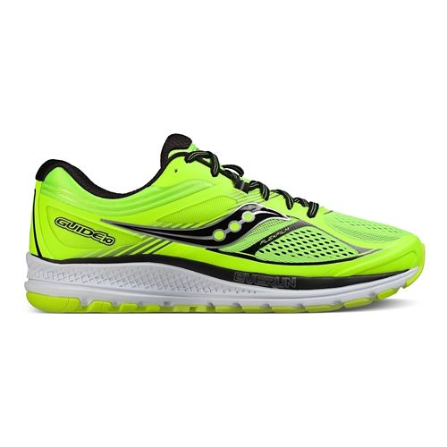 Mens Saucony Guide 10 Running Shoe - Lime/Black/Citron 11.5