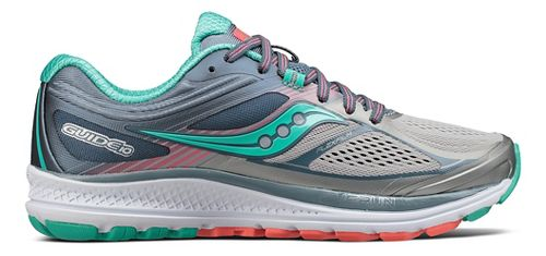 Womens Saucony Guide 10 Running Shoe - Grey/Teal 10.5
