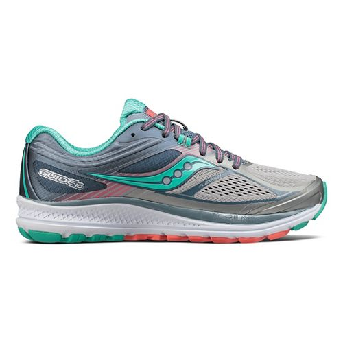 Womens Saucony Guide 10 Running Shoe - Grey/Teal 11