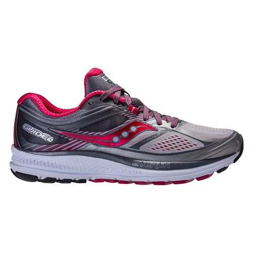 Womens Saucony Guide 10 Running Shoe - Silver/Berry 8.5