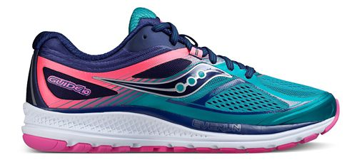 Womens Saucony Guide 10 Running Shoe - Teal/Navy/Pink 7