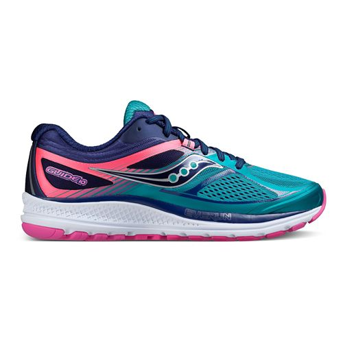 Womens Saucony Guide 10 Running Shoe - Teal/Navy/Pink 8