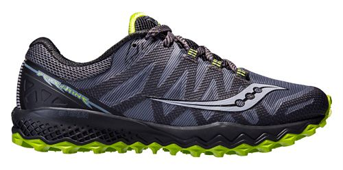 Mens Saucony Peregrine 7 Trail Running Shoe - Grey/Lime 8.5
