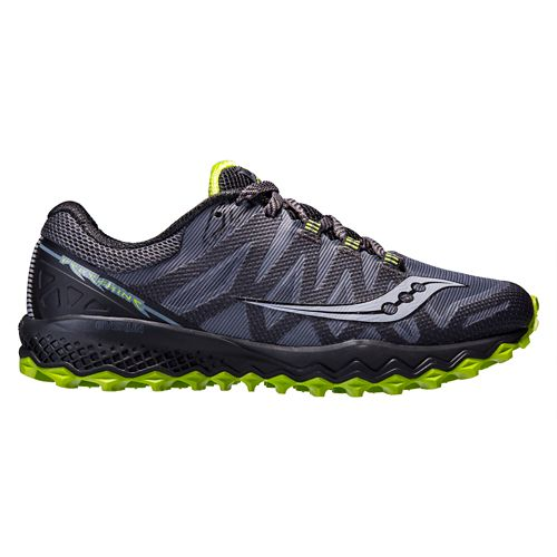Mens Saucony Peregrine 7 Trail Running Shoe - Grey/Lime 12.5