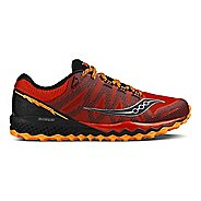 Mens Saucony Peregrine 7 Trail Running Shoe - Red/Orange/Black 9