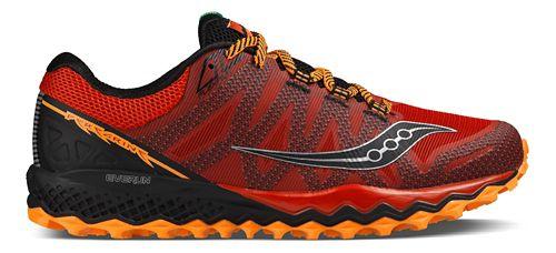 Mens Saucony Peregrine 7 Trail Running Shoe - Red/Orange/Black 9