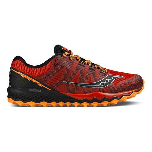 Mens Saucony Peregrine 7 Trail Running Shoe - Red/Orange/Black 11
